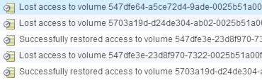 Volume access lost messages logged in vCenter