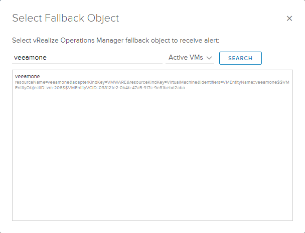 Select fallback object in case vROps cannot correlate the alerts to the correct object