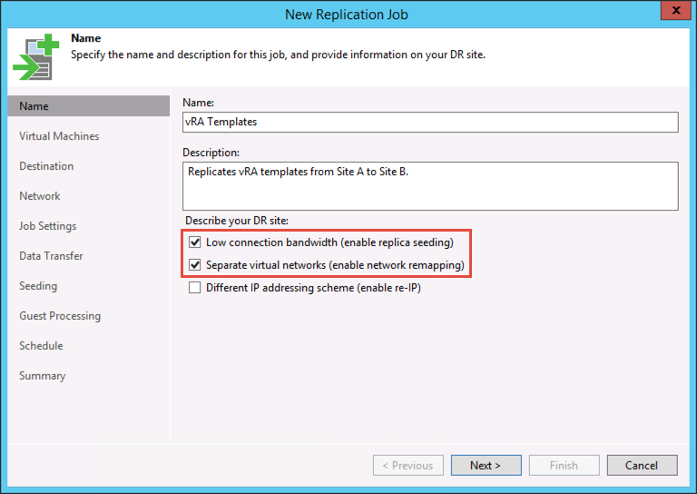 Veeam replication job, check these boxes