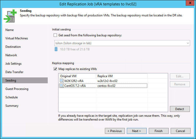 Enable replica mapping to existing VMs at destination