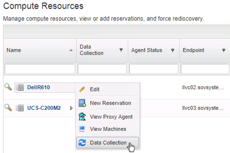 Begin a data collection in vRA