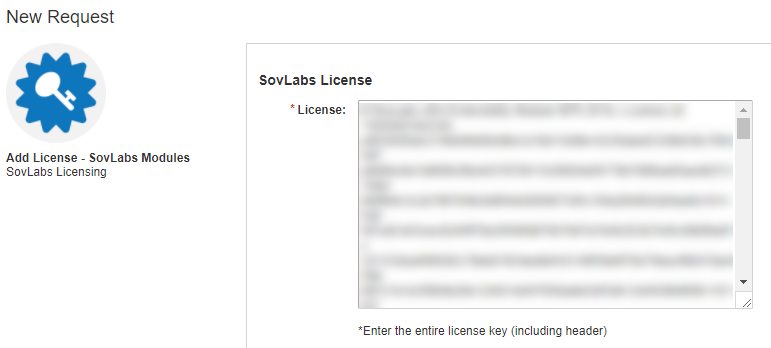 Pasting in SovLabs license